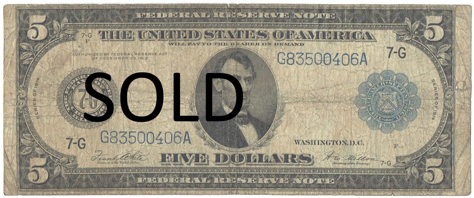 1914 Five Dollar Federal Reserve Note