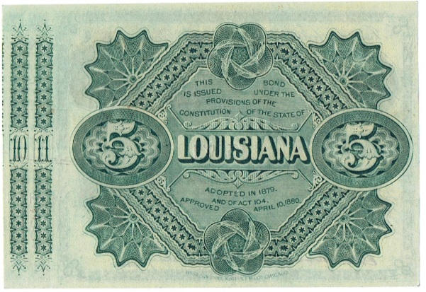 Series 1876 Five Dollar Louisiana Baby Bond