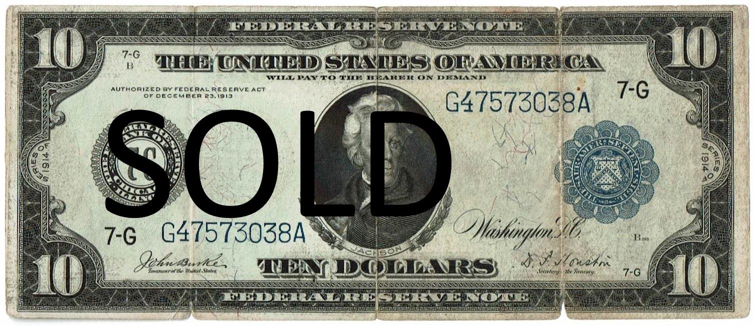 1914 Ten Dollar Federal Reserve Note