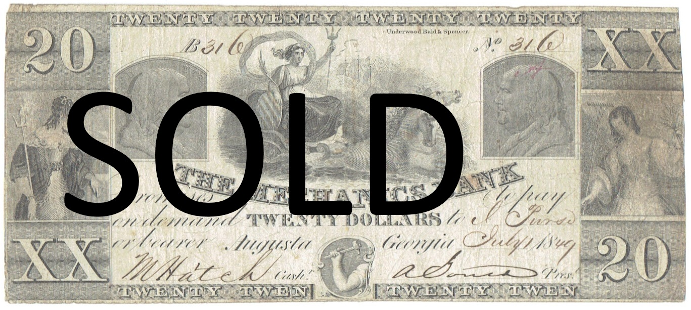 1849 Twenty Dollar Mechanics Bank of Augusta Georgia Note