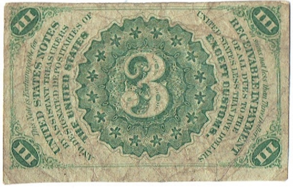 1864-9 three cent fractional currency