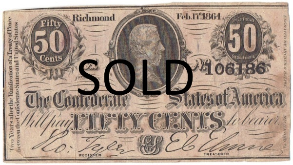 1864 fifty cent fractional currency