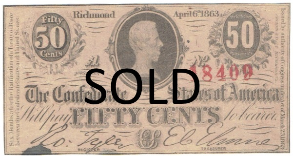 1863 fifty cent fractional currency
