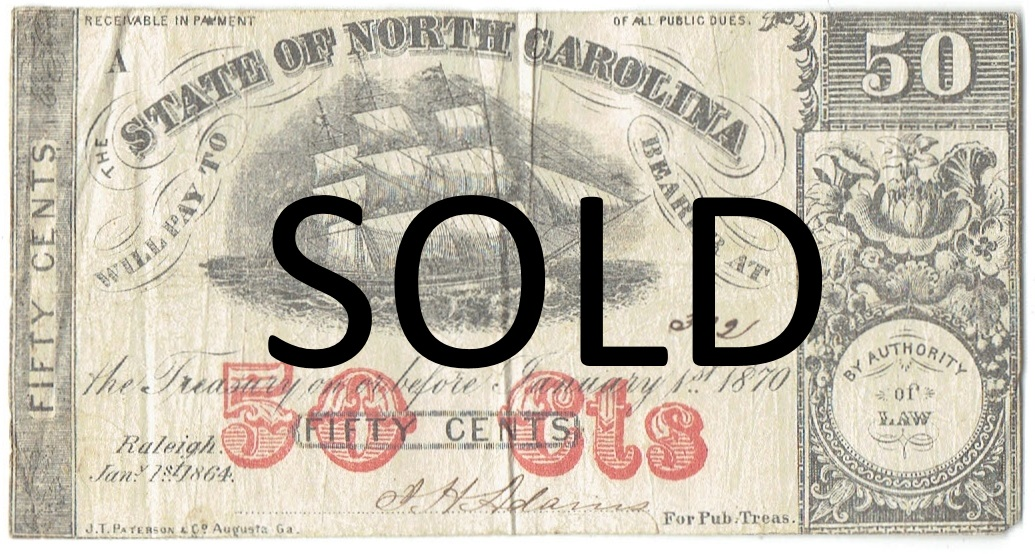 1864 fifty cent northcarolina fractional currency