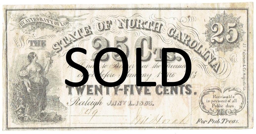 1863 Twenty Five Cent North Carolina Fractional Currency