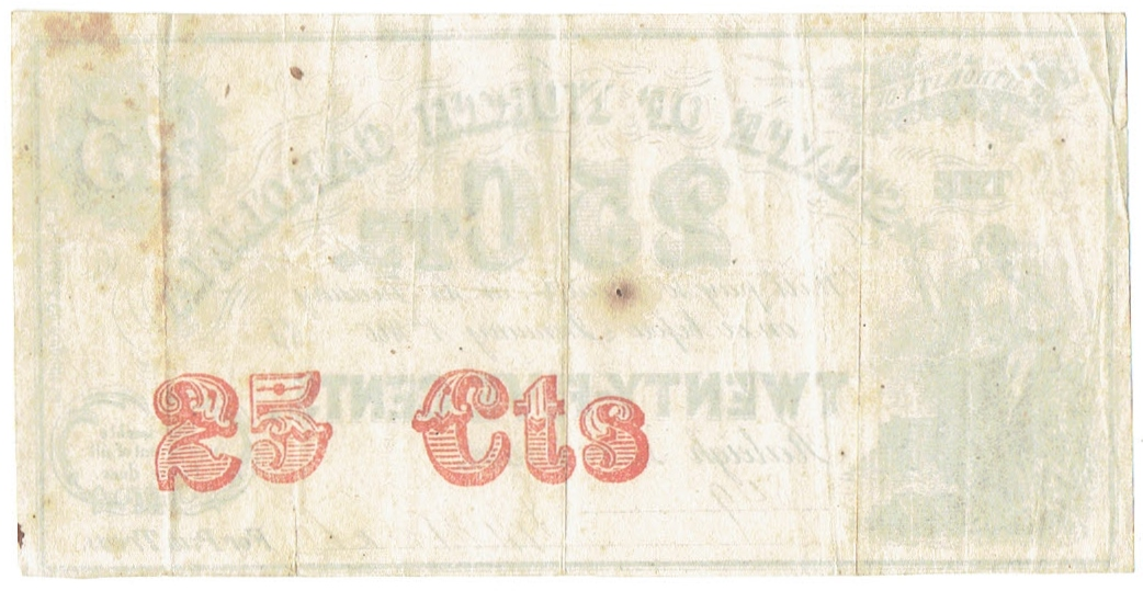 1863 Twenty Five Cent North Carolina Fractional Currency