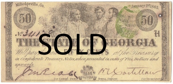 1863 Fifty Cent State of Georgia Fractional Note