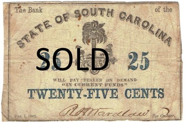 1863 Twenty Five Cent Broken Bank Fractional Note