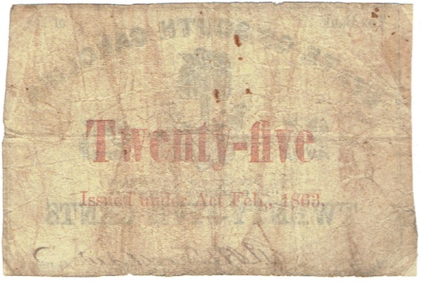 1863 Twenty Five Cent Broken Bank Fractional Note