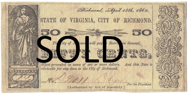 1862 Fifty Cent State of Virginia, City of Richmond Fractional Note