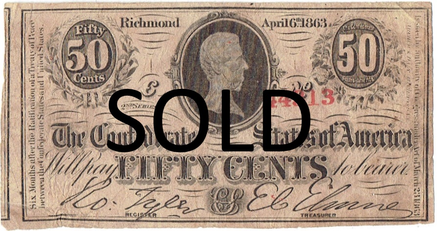 1863 Confedeate Fifty Cent Fractional Currency