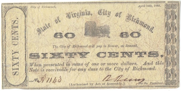 1862 Sixty Cent State of Virginia, City of Richmond Fractional Note