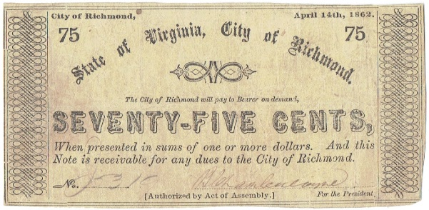 1862 Seventy Five Cent State of Virginia, City of Richmond Fractional Note