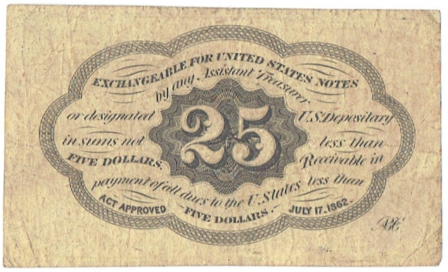 1862-3 twenty five cent fractional currency