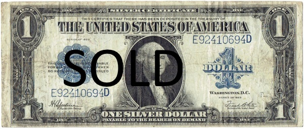 1923 one dollar silver certificate