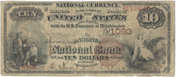 1885 Ten Dollar National Currency