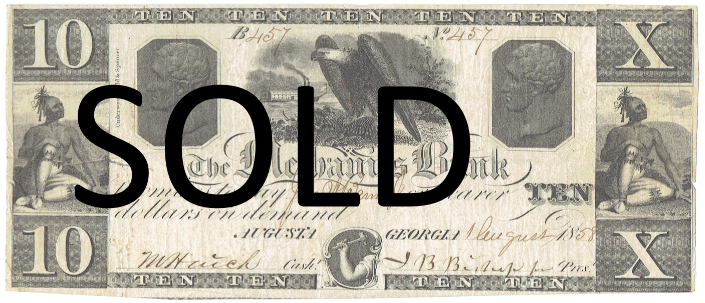 1858 Ten Dollar Mechanics Bank of Augusta Georgia Note