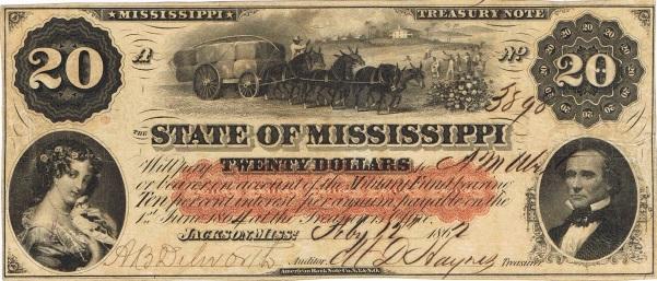 1862 Twenty Dollar Mississippi State Currency