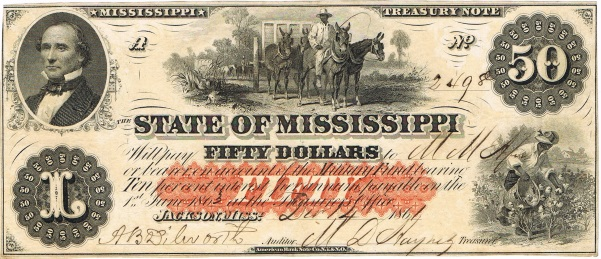 1861 Fifty Dollar Mississippi State Currency