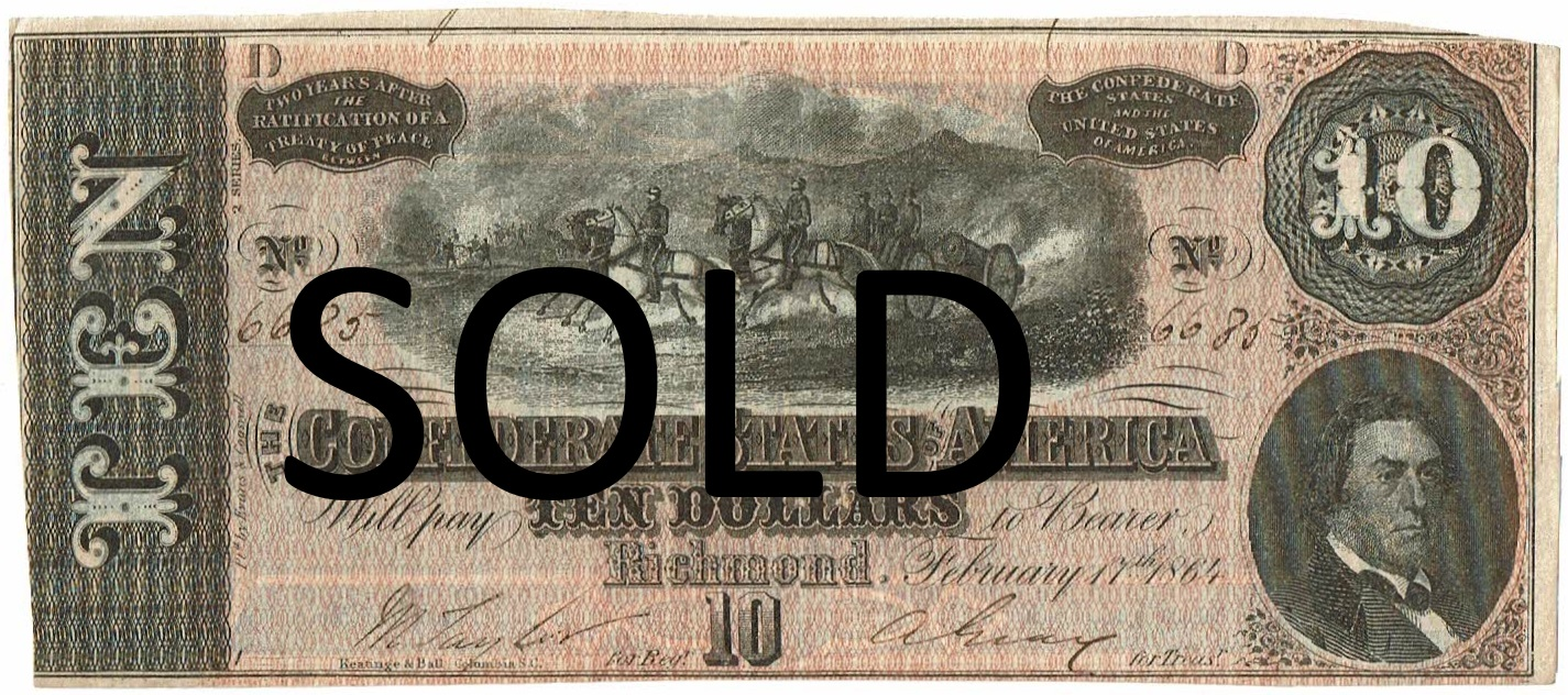 1864 Ten Dollar Confederate Currency