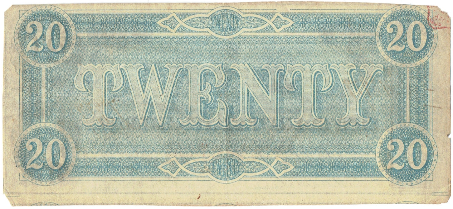 1864 Twenty Dollar Confederate Currency