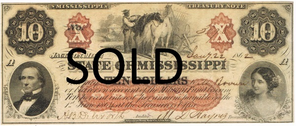 1862 Ten Dollar Mississippi State Currency