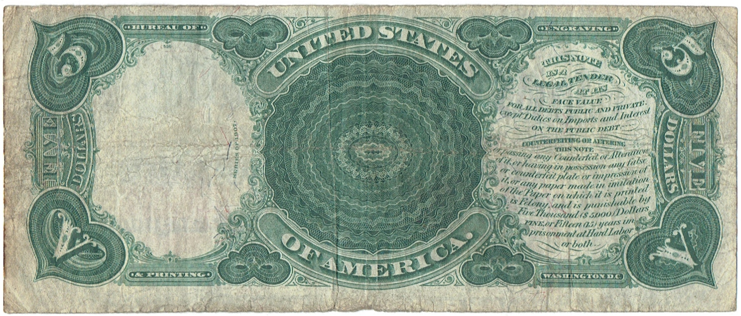 1907 Five Dollar United States Note
