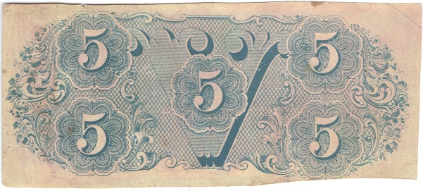 1862 Five Dollar Confederate Currency