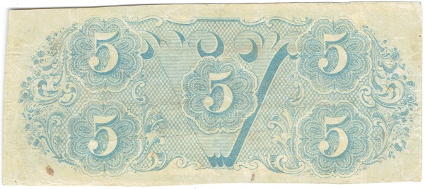 1863 Five Dollar Confederate Currency