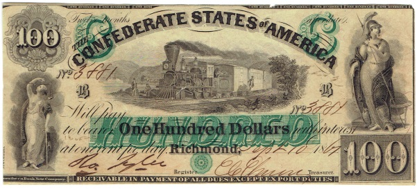1861 One Hundred Dollar Confederate Currency