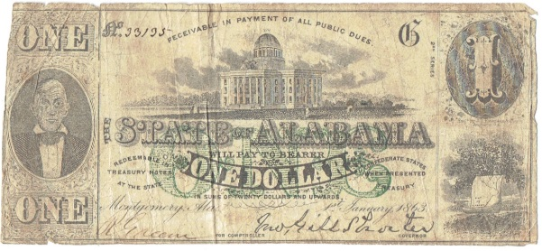 1863 One Dollar State of Alabama Note