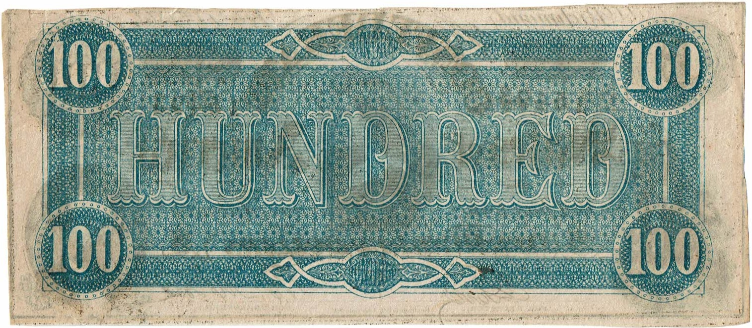1862 One Hundred Dollar Confederate Currency