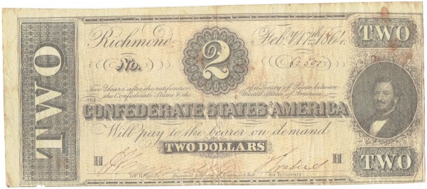 1864 Two Dollar Confederate Currency