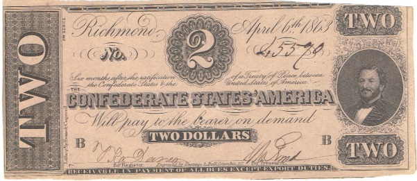 1863 Two Dollar Confederate Currency