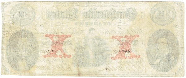 1862 Ten Dollar Confederate Currency