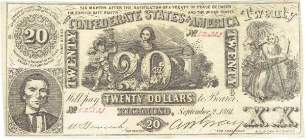 1861 Twenty Dollar Confederate Currency