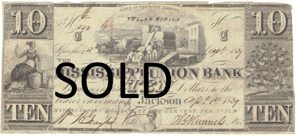 1839 Ten Dollar Mississippi Union Bank Note