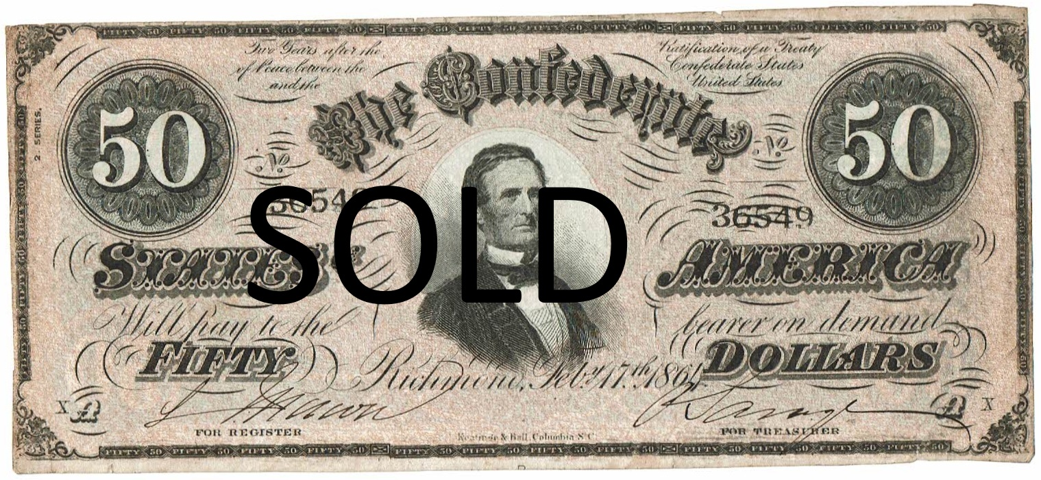 1864 Fifty Dollar Confederate Currency