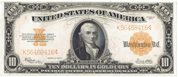 1922 Ten Dollar Gold Certificate