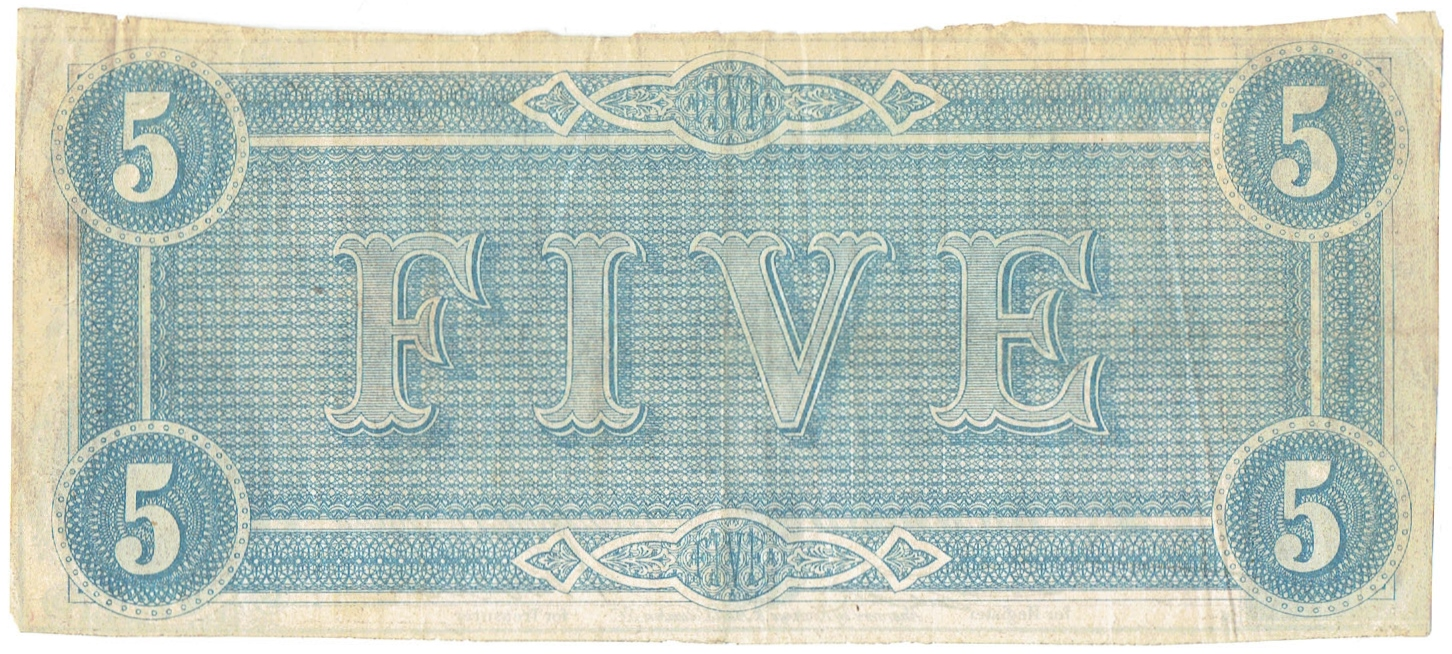 1864 Five Dollar Confederate Currency