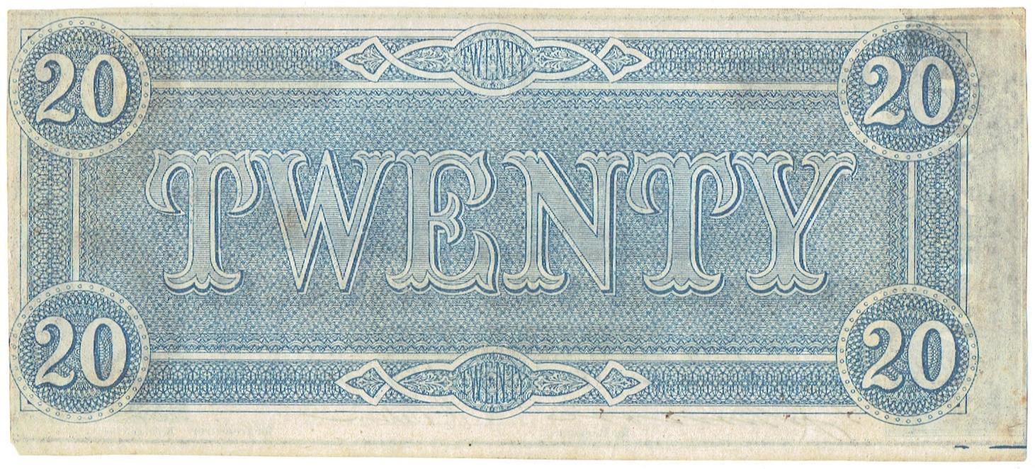 1864 Twenty Dollar Confederate Currency