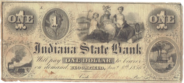 1856 One Dollar Indiana State Bank Note