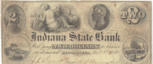 1856 Two Dollar Indiana State Bank Note