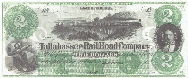 1859-70 Two Dollar Tallahassee Rail Road Company Note