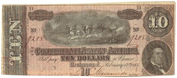 1864 Ten Dollar Confederate Currency