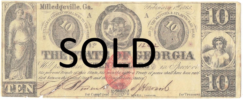 1863 Ten Dollar Georgia State Currency