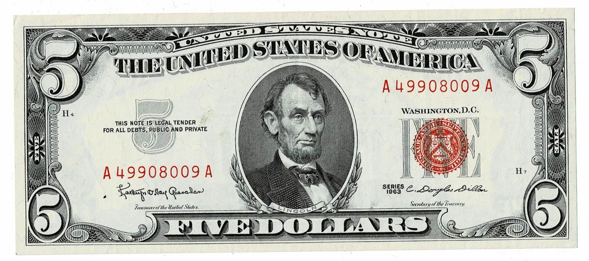 1928 A five dollar federal reserve note