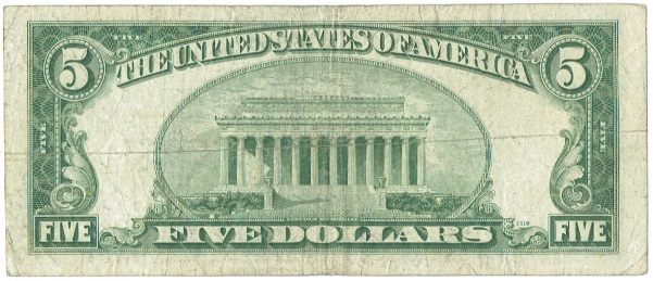 1950 A Five Dollar Federal Reserve Note