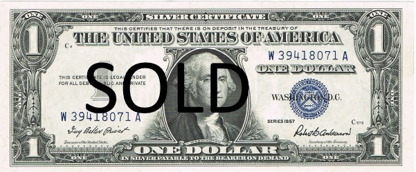 1957 one dollar silver certificate