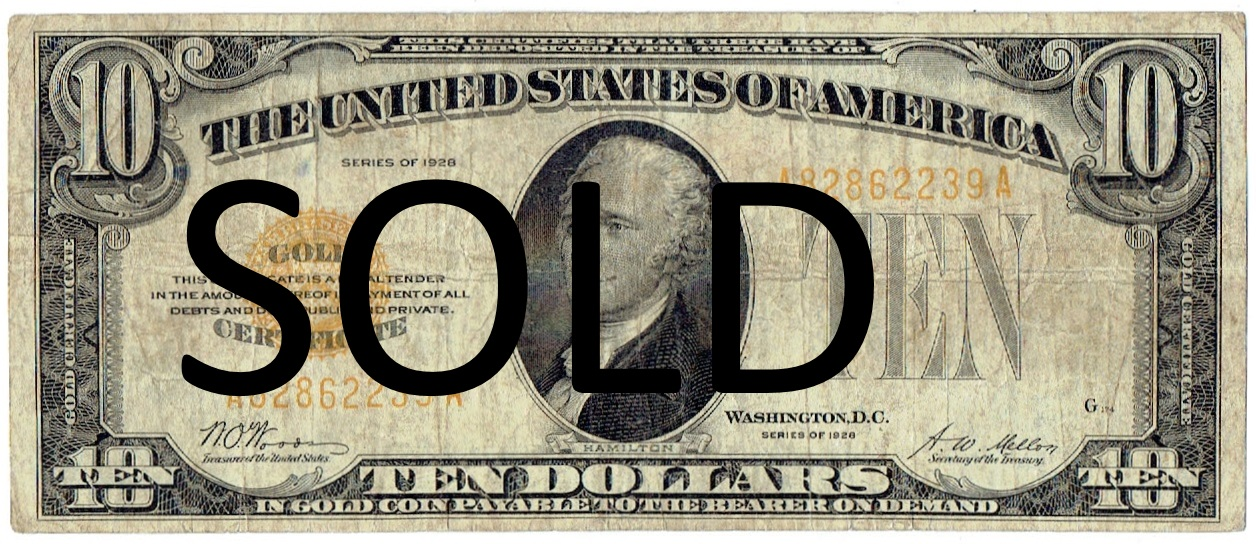 1929 Ten Dollar Gold Certificate